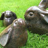 152. konijnen, serpentijn, 20 cm hoog